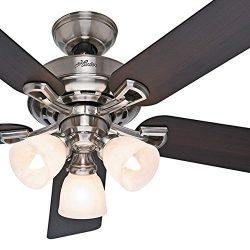 Hunter Fan 52 inch Brushed Nickel Ceiling Fan with Light Kit and Remote Control (Certified Refur ...