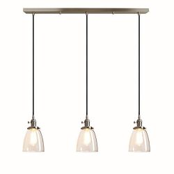 Pathson Industrial 3-Light Pendant Lighting Kitchen Island Hanging Lamps with Oval Clear Glass S ...