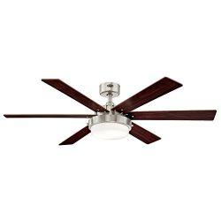 Westinghouse Lighting 7205100 Alloy II 52-inch Brushed Nickel Indoor Ceiling Fan, LED Light Kit  ...