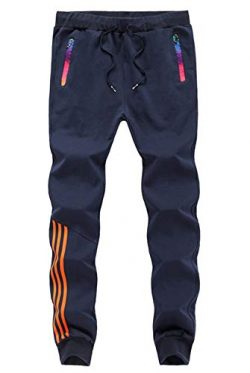 GEEK LIGHTING Men's Athletic Track Pants Casual Running Jogger Trousers with Zippered Pock ...