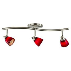 Direct-Lighting 3 Lights Adjustable Track Lighting Kit – Brushed Steel Finish – Red  ...