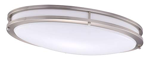 Cloudy Bay LED Flush Mount Ceiling Light,24 Inch 4000K Cool White,28W Dimmable,Brushed Nickel Ov ...