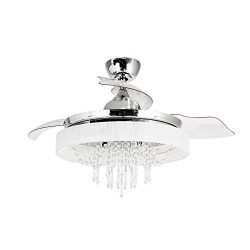 Modern Crystal Ceiling Fan with Lights 42 Inch Retractable Blades Chandelier Fan with 6 Bulbs (N ...