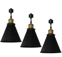 Kiven H-Type Track Pendant Lignting Antique Industrial Oil Rubbed Bronze Pendant Fixture 3 Pack, ...