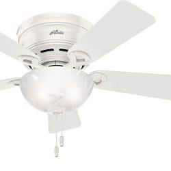 Hunter Fan 42 inch Low Profile Fresh White Indoor Ceiling Fan with Bowl Light Kit (Renewed)