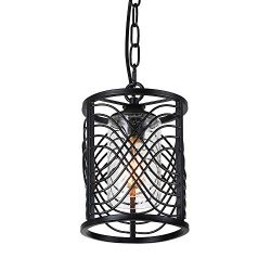 Anmytek Adjustable Metal Chandelier Cylinder Style Iron Frame Net Cage Pendant Light Black Finis ...