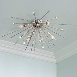 Possini Euro Janae 29″ Wide Polished Nickel Ceiling Light – Possini Euro Design