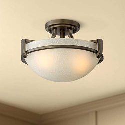 Mallot 13″ Wide Bronze and Champagne Glass Ceiling Light