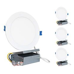 SUNTHIN (4 Pack) 6 inch LED Recessed Ceiling Light with Junction Box, 120V, 14W(100W Replacement ...