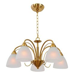 VINLUZ Contemporary Chandeliers 5 Light with Glass Shade Brushed Brass Pendant Lighting Mid Cent ...