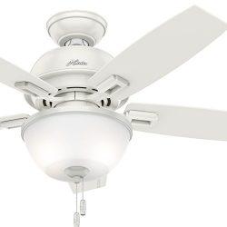 Hunter Fan 44 inch Ceiling Fan in Onyx Bengal with LED Bowl Light Kit (Renewed) (Fresh White)