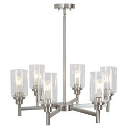 VINLUZ 6 Light Contemporary Chandelier Brushed Nickel Modern Pendant Lighting Cylinder Clear Gla ...
