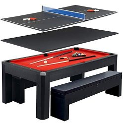 Hathaway Park Avenue 7' Pool Table Tennis Combination with Dining Top, Two Storage Benches, Free ...