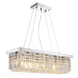 Siljoy L40″ x W10″ Rectangle Modern Crystal Chandelier Lighting Raindrop Pendant Lig ...