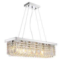 Siljoy Modern K9 Crystal Pendant Chandelier Lighting Rectangular Ceiling Light Fixture for Dinin ...