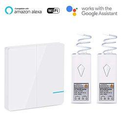 Wsdcam Wireless Smart Light Switch Kit WiFi Light Switch Works with Alexa, APP Controlled, Voice ...