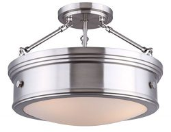 CANARM LTD ISF624A03BN Boku BN 3 Bulb Semi-Flush Mount Brushed Nickel with Flat Opal Glass