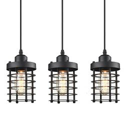 WINSOON 3 Pack Pendant Light Fixture Mini Rustic Metal Cage Hanging Lighting (Black, 3Pack)