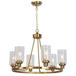 MELUCEE Island Lighting Brass 6 Lights Round Chandelier Flush Mount Dining Room Lighting Fixture ...
