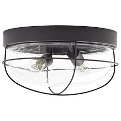Stone & Beam Industrial Flush Mount Light With Bulb, 11″H, Oil-Rubbed Bronze, For Indo ...