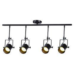 Vintage Matte Black Spotlight, Motent Industrial Retro Adjustable Metal Ceiling Lamp, Antique Fl ...
