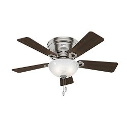 Hunter 52139 Hunter Haskell Ceiling Fan with Light, 42″, Brushed Nickel