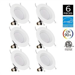 JJC 6Pack Recessed Lighting 6 Inch LED Dimmable Downlight Ceiling Lights 18W 3000K-Warm White 12 ...