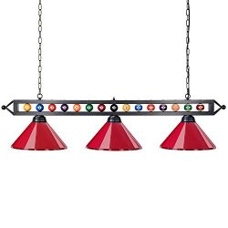 "Wellmet 59"" Hanging Pool Table Light Fixture for Game Room Beer Party, Ball Design Metal B ..."