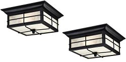 Orwell 2 Light Outdoor Flush Mount Fixture, Textured Black (2 Pack)