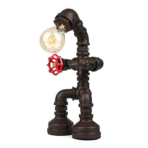 BAYCHEER Industrial Retro Style Rust Iron Robot Plumbing Pipe Desk Table Lamp Light with Red Val ...