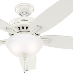 Hunter Fan 52 inch Fresh White Ceiling Fan with Light Kit (Renewed)
