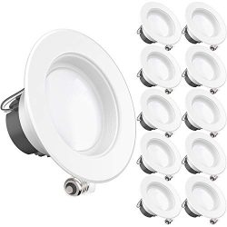Sunco Lighting 10 Pack 4 Inch LED Recessed Downlight, Baffle Trim, Dimmable, 11W=40W, 6000K Dayl ...