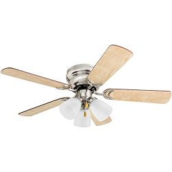 Prominence Home 50863 Whitley Hugger Ceiling Fan with 3 Light Fixture, 42″ LED Indoor Low- ...