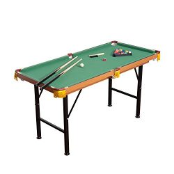 HOMCOM 4.5′ Portable Folding Compact Mini Billiards Table with Full Game Accessory Set
