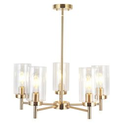 VINLUZ Contemporary 5-Light Large Chandelier Lighting Modern Clear Glass Shades Pendant Lamp Bru ...
