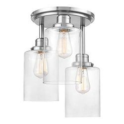 Globe Electric Annecy 3-Light Semi-Flush Mount Ceiling Light, Brushed Steel, Clear Glass Shades  ...