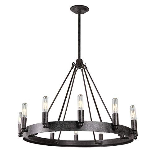 7Pandas 12-Light Indoor Retro Chandeliers E12, Antique Pendant Lighting, for Living Room Dining  ...