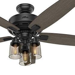Hunter Fan 52 inch Traditional Matte Black Indoor Ceiling Fan with Light Kit and Remote Control  ...