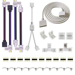 5PIN LED Strip Connector Kit – 10mm 5050 RGBW LED Connector Kit Include 9.8FT Extension Ca ...