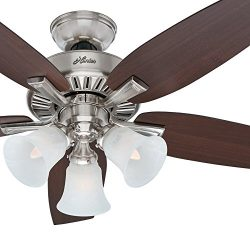 Hunter Fan 46 inch Brushed Nickel Finish Ceiling Fan with Light Kit and Remote Control (Renewed)
