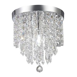 Wabaodan Modern Crystal Chandelier Pendant ceiling lamp Chrome Finish Crystal Chandelier Pendent ...