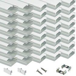 Muzata LED Channel System with Milky Cover Lense,LED Aluminum Profile Housing for Strip Tape Lig ...