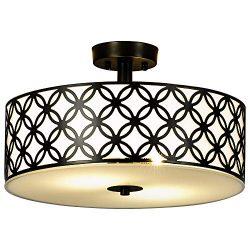 SOTTAE Black Ceiling Lamp 2 Lights Creamy White Glass Diffuser Living Room Flush Mount Ceiling L ...