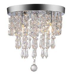Wabaodan Modern Crystal Chandelier Pendant Ceiling lamp Chrome Finish Crystal Chandelier Pendent ...