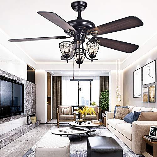RainierLight Rustic 52 inch Ceiling Fan Lamp 3 Cryatal Light Kit 5 Wood Blade Remote Control Led ...