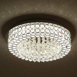 Horisun LED Ceiling Light Crystal Chandelier ETL Listed Dimmable Lighting Flush Mount with Moder ...