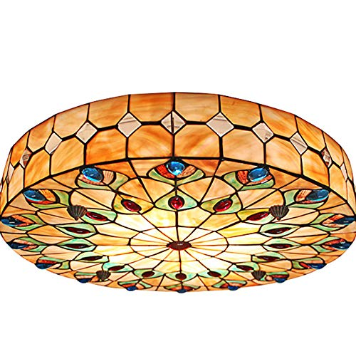 Vintage Tiffany Ceiling Light Hand-Made Chandelier Remote Flush Mount Lighting Fixture, Lampshad ...