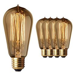 4 Pack Sale – Old Fashion Edison Light Bulbs – Highly Rated – 60W Vintage Squi ...