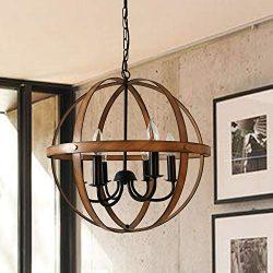 AICCOA Rustic Modern Farmhouse Chandelier Lighting Sphere Orb Ceiling Light Fixture Pendant Chan ...