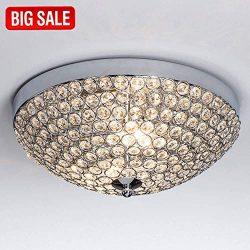 SOTTAE Elegant 2 Lights Crystal Cental Shade Chrome Finish Bedroom Living Room Hallway Kids Room ...